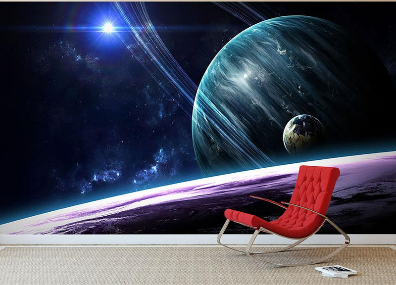 Space Planets Wall Mural Wallpaper - Canvas Art Rocks - 1