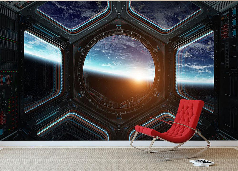 Space Ship Window Wall Mural Wallpaper - Canvas Art Rocks - 1
