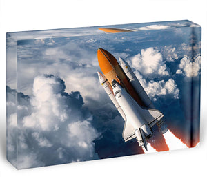 Space Shuttle Launch In The Clouds Acrylic Block - Canvas Art Rocks - 1