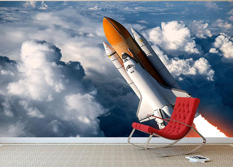 Space Shuttle Launch In The Clouds Wall Mural Wallpaper - Canvas Art Rocks - 1