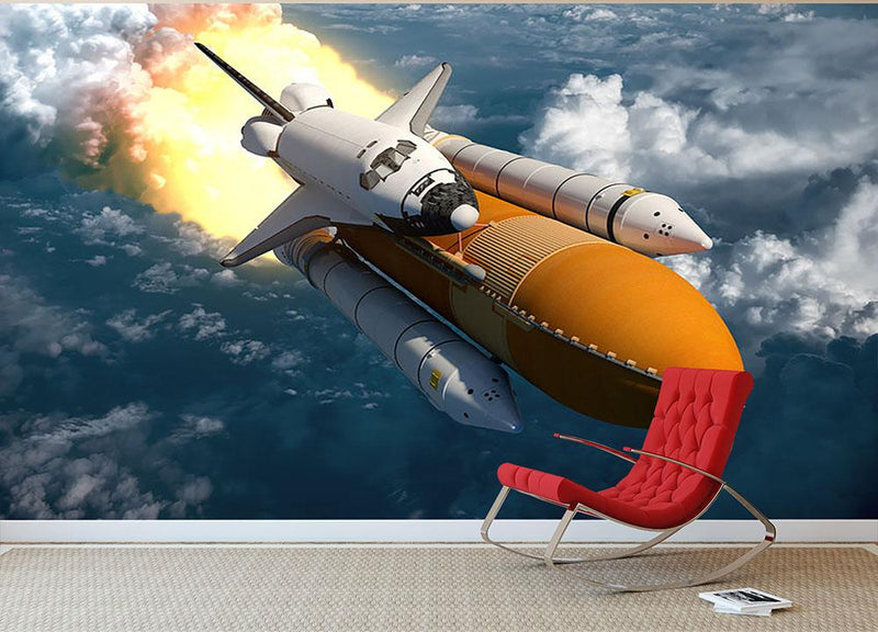 Space Shuttle Lift Off Wall Mural Wallpaper - Canvas Art Rocks - 1