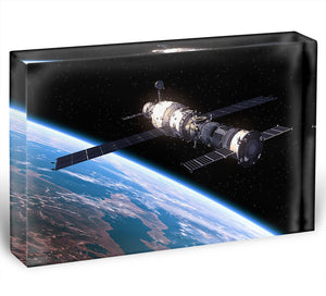 Space Station In Space Acrylic Block - Canvas Art Rocks - 1