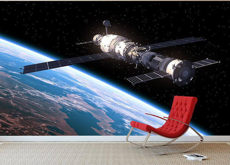 Space Station In Space Wall Mural Wallpaper - Canvas Art Rocks - 1