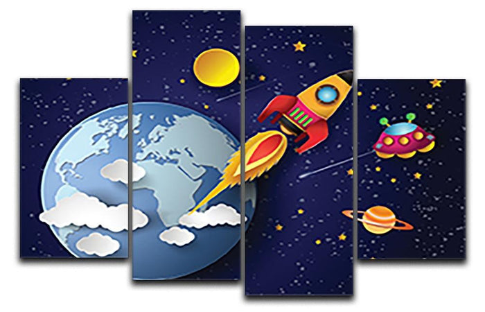 Space rocket launch and galaxy 4 Split Panel Canvas