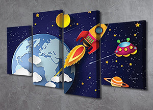 Space rocket launch and galaxy 4 Split Panel Canvas - Canvas Art Rocks - 2