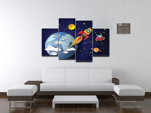 Space rocket launch and galaxy 4 Split Panel Canvas - Canvas Art Rocks - 3