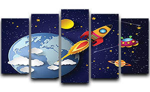 Space rocket launch and galaxy 5 Split Panel Canvas  - Canvas Art Rocks - 1