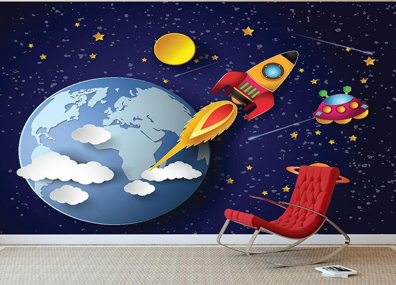 Space rocket launch and galaxy Wall Mural Wallpaper - Canvas Art Rocks - 1