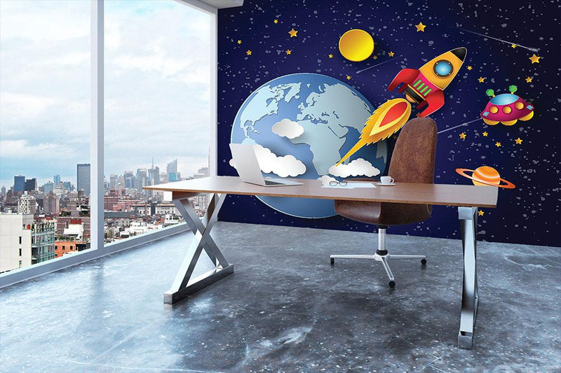 Space rocket launch and galaxy Wall Mural Wallpaper - Canvas Art Rocks - 3