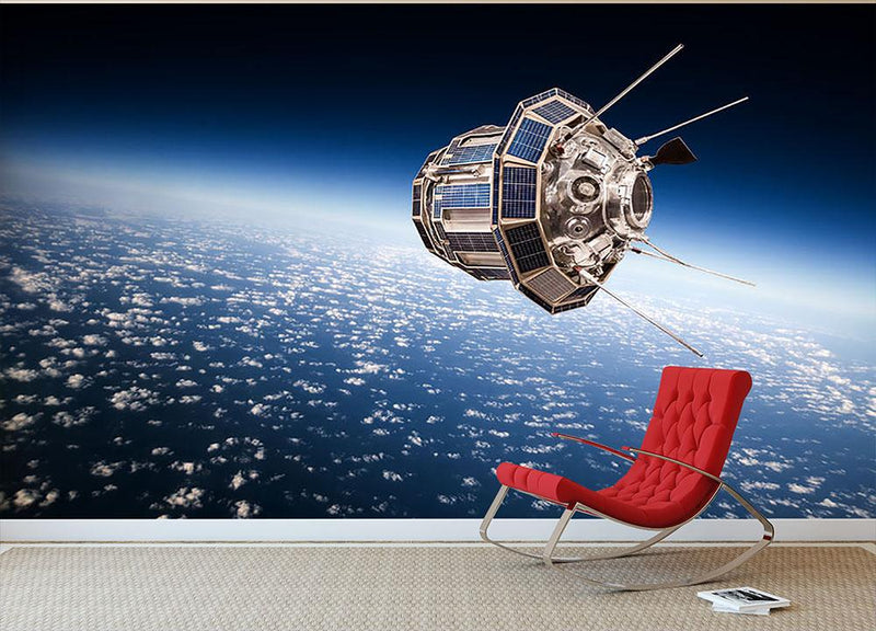 Space satellite orbiting the earth Wall Mural Wallpaper - Canvas Art Rocks - 1