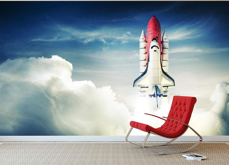 Space shuttle taking off on a mission Wall Mural Wallpaper - Canvas Art Rocks - 1