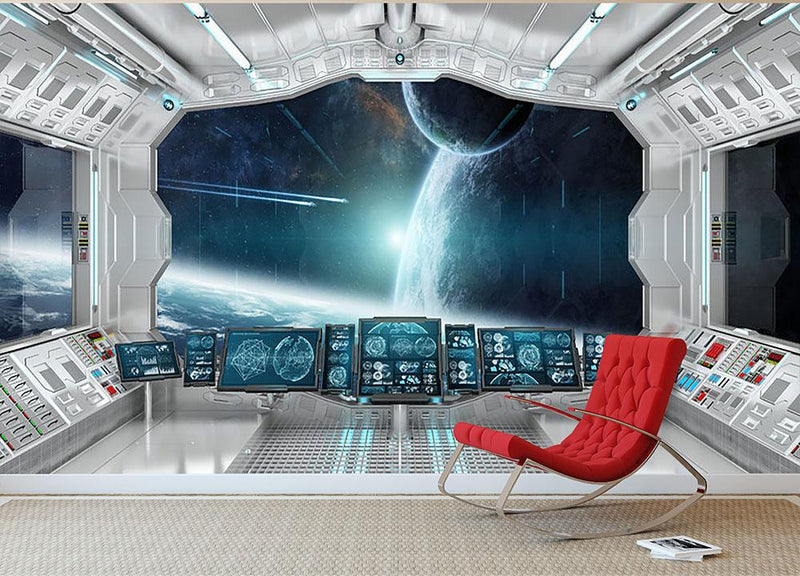 Spaceship Control Center Wall Mural Wallpaper - Canvas Art Rocks - 1