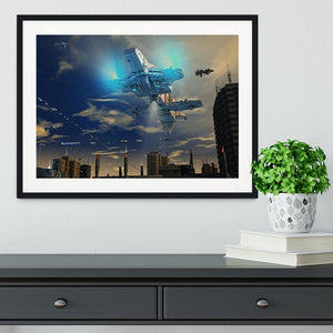 Spaceship UFO and City Framed Print - Canvas Art Rocks - 1