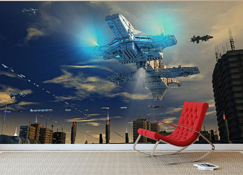 Spaceship UFO and City Wall Mural Wallpaper - Canvas Art Rocks - 1