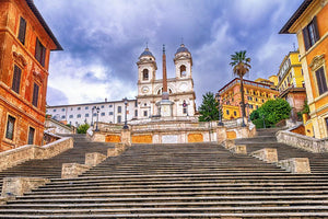 Spanish Steps and Trinita dei Monti church Wall Mural Wallpaper - Canvas Art Rocks - 1
