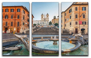 Spanish Steps at morning 3 Split Panel Canvas Print - Canvas Art Rocks - 1