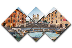 Spanish Steps at morning 4 Square Multi Panel Canvas  - Canvas Art Rocks - 1