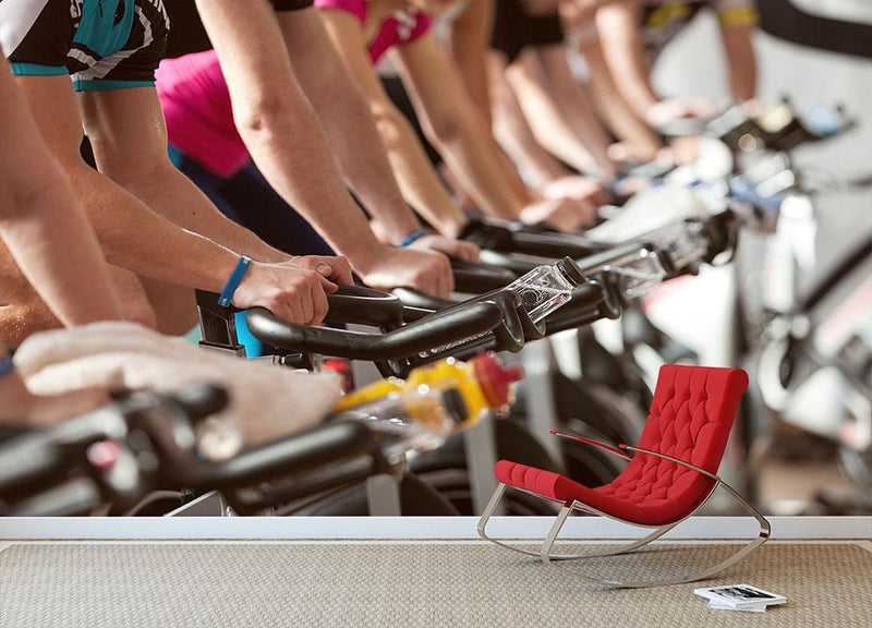 Spinning class Wall Mural Wallpaper - Canvas Art Rocks - 1