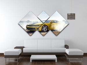 Sport Car Drifting 4 Square Multi Panel Canvas  - Canvas Art Rocks - 3