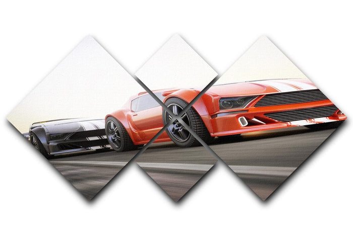 Sport Cars Racing 4 Square Multi Panel Canvas