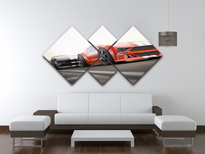 Sport Cars Racing 4 Square Multi Panel Canvas  - Canvas Art Rocks - 3
