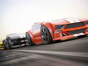 Sport Cars Racing Wall Mural Wallpaper - Canvas Art Rocks - 1