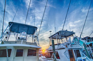 Sportfishing boats at Marina early morning Wall Mural Wallpaper - Canvas Art Rocks - 1