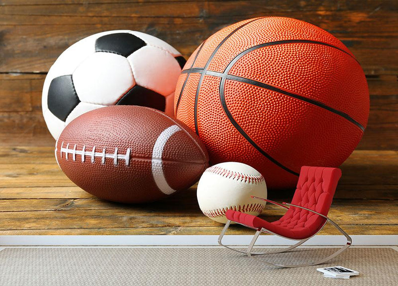 Sports balls Wall Mural Wallpaper - Canvas Art Rocks - 1