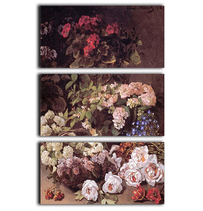 Spring Flowers by Monet 3 Split Panel Canvas Print