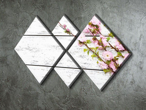 Spring flowering branch on white wooden 4 Square Multi Panel Canvas  - Canvas Art Rocks - 2
