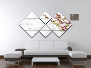 Spring flowering branch on white wooden 4 Square Multi Panel Canvas  - Canvas Art Rocks - 3