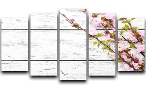 Spring flowering branch on white wooden 5 Split Panel Canvas  - Canvas Art Rocks - 1