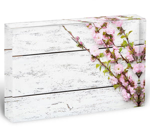 Spring flowering branch on white wooden Acrylic Block - Canvas Art Rocks - 1