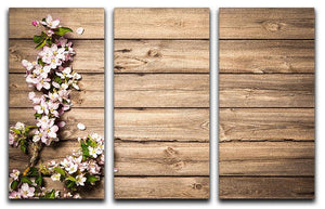 Spring flowering branch on wooden background 3 Split Panel Canvas Print - Canvas Art Rocks - 1