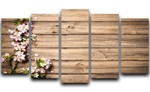 Spring flowering branch on wooden background 5 Split Panel Canvas  - Canvas Art Rocks - 1