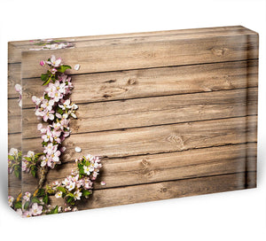 Spring flowering branch on wooden background Acrylic Block - Canvas Art Rocks - 1