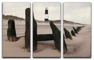 Spurn Point Lighthouse 3 Split Panel Canvas Print - Canvas Art Rocks - 1