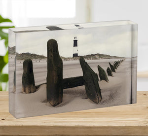 Spurn Point Lighthouse Acrylic Block - Canvas Art Rocks - 2