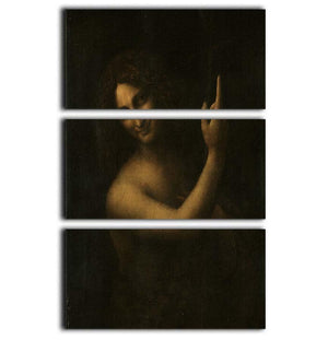 St. John the Baptist by Da Vinci 3 Split Panel Canvas Print - Canvas Art Rocks - 1