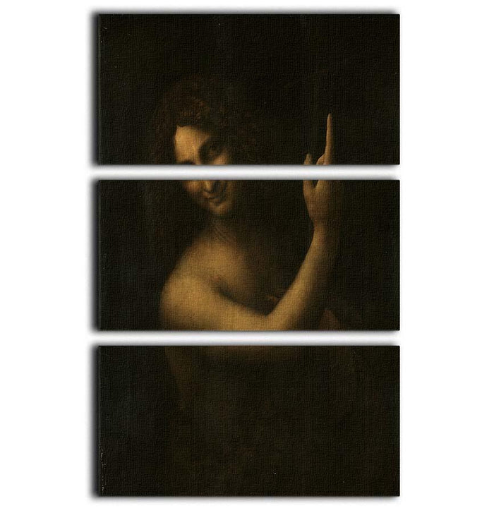 St. John the Baptist by Da Vinci 3 Split Panel Canvas Print