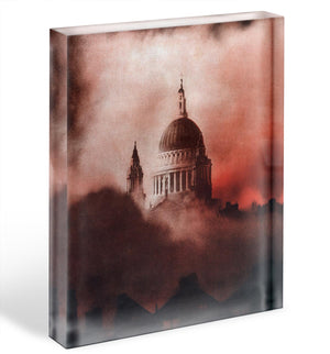 St Pauls Survives in colour Acrylic Block - Canvas Art Rocks - 1