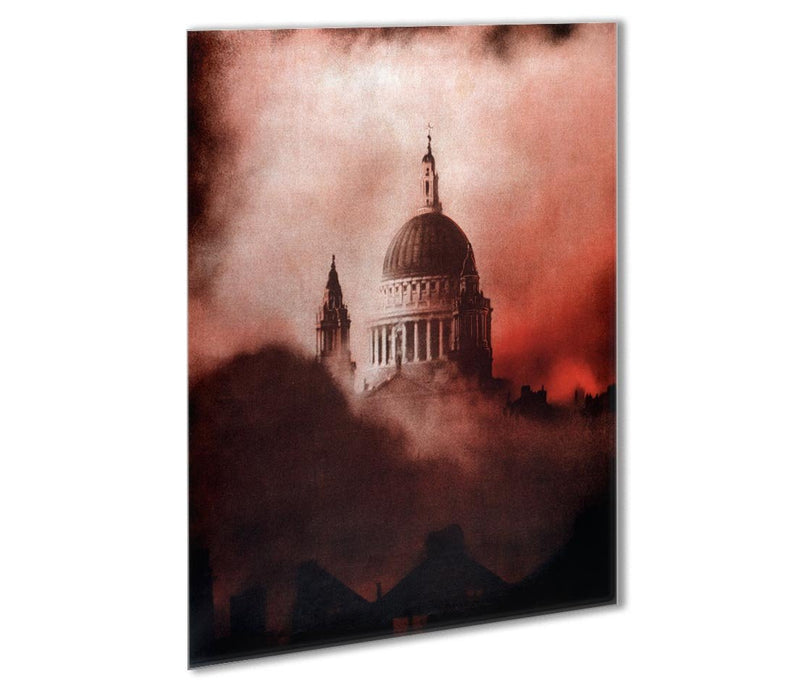 St Pauls Survives in colour Outdoor Metal Print - Canvas Art Rocks - 1