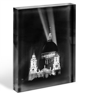 St Pauls floodlight on VE Day Acrylic Block - Canvas Art Rocks - 1