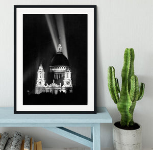 St Pauls floodlight on VE Day Framed Print - Canvas Art Rocks - 1