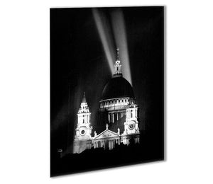 St Pauls floodlight on VE Day Outdoor Metal Print - Canvas Art Rocks - 1