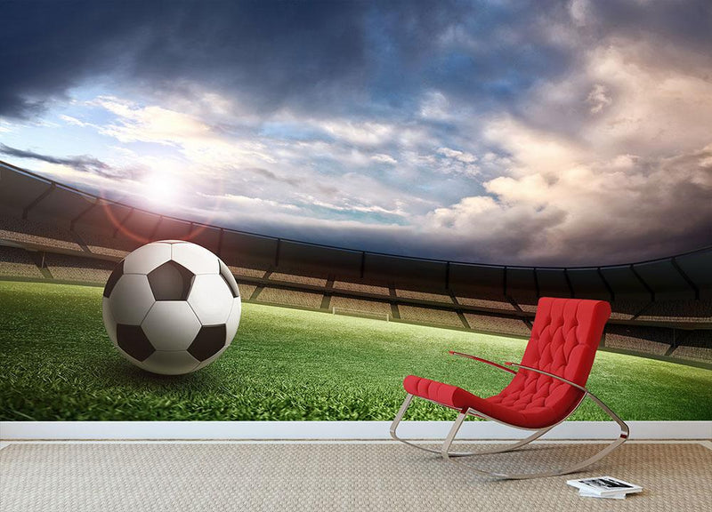 Stadium and soccer ball Wall Mural Wallpaper - Canvas Art Rocks - 1