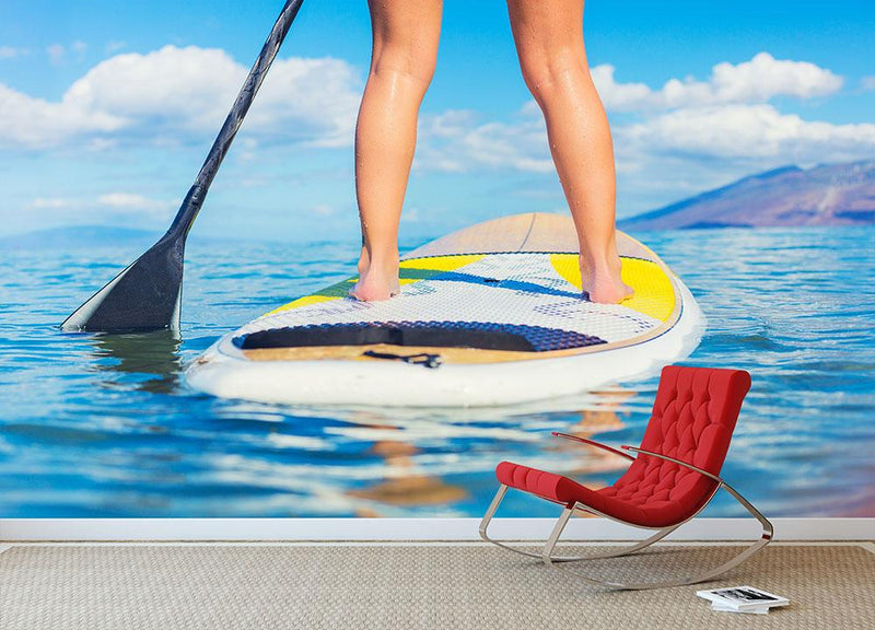 Stand Up Paddle Surfing In Hawaii Wall Mural Wallpaper - Canvas Art Rocks - 1