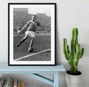 Stanley Matthews playing football Framed Print - Canvas Art Rocks - 1