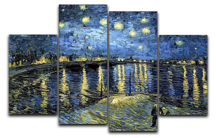Starry Night over the Rhone 4 Split Panel Canvas