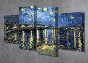 Starry Night over the Rhone 4 Split Panel Canvas - Canvas Art Rocks - 2